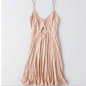 American eagle cut out pink dress